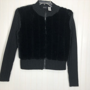 bnk usa Jacket Sweater & Faux Fur Front Sz L